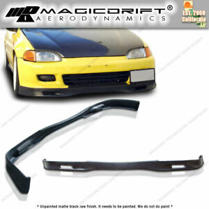 For 92 95 Honda Civic Eg Hatch 3dr Pu Spoon Style Front Bumper Chin Lip Spoiler