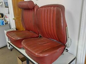 Pair Original Genuine Porsche 356b T 6 Recaro Red Leatherette Bucket Seats