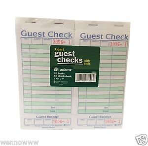 1 part Guest Check With Stub 20 Books 50 Checks