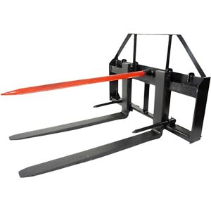 Titan 48 Skid Steer Pallet Fork Attachment W 49 Bale Spear 2 Stabilizers