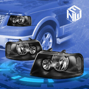 Fit 03 06 Ford Expedition U222 Black Crystal Lens Clear Corner Signal Headlight