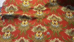 Antique Cotton Fabric Twill Large Floral Chintz On Turkey Red 26 Wide 1 Yard