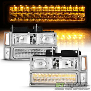 8pc 1994 1999 Chevy Silverado Tahoe Suburban Headlights Led Bumper Signal Light