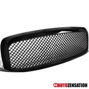 For 2006 2008 Dodge Ram 1500 2500 3500 Mesh Style Glossy Black Front Hood Grille