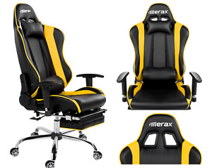 Merax High Back Racing Gaming Office Chair Pu Leather Reclining Nap Chair