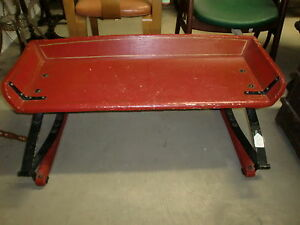 Antique Beautiful Red Wash Paint Buggy Seat Bench