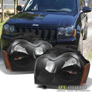Black 2005 2006 2007 Jeep Grand Cherokee Replacement Headlights Lamps Left Right