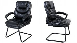 1x Mid Back Sled Base Guest Visitor Chair Office Desk Side Chair Black Color