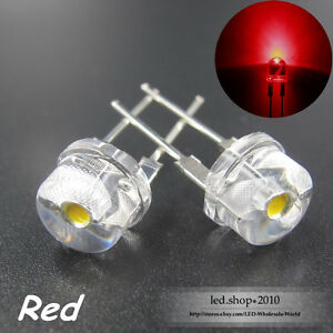 1000pcs Ultra bright 8mm Straw Hat 0 5w Red Light emitting Diodes Clear Lens Led