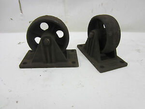 2 Vintage Heller Caster Co Detroit Cast Iron Industrial Trolley Casters