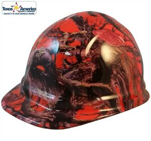 American Camo Orange Hydro Dipped Cap Style Hard Hat With Ratchet Suspension