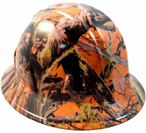 American Camo Orange Hydro Dipped Full Brim Hard Hat With Ratchet Suspension