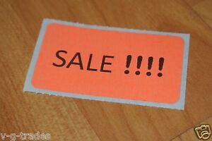 Lot Of 200 Orange Self adhesive Sales Price Labels Stickers Tags Retail Store