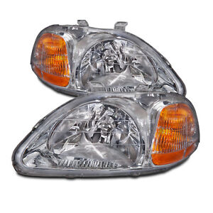 Fits 1996 1998 Honda Civic Sedan Hatchback Coupe Headlights Headlamps Pair New