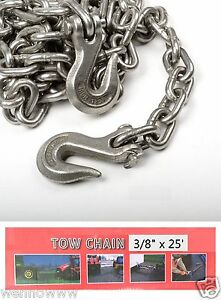 3 8 X 25ft Tow Chain Automotive Truck Towing Log Chain