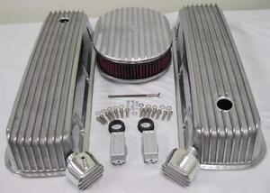 Big Block Chevy Finned Valve Cover Set W 12 Washable Air Cleaner