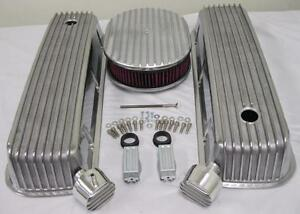 Big Block Chevy Finned Valve Cover Set W 12 Washable Air Cleaner Breather Pcv