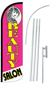 Beauty Salon Flag Kit 3 Wide Windless Swooper Feather Advertising Sign