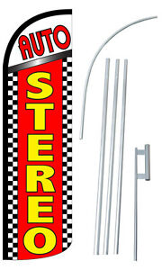 Auto Stereo Flag Kit 3 Wide Windless Swooper Feather Advertising Sign