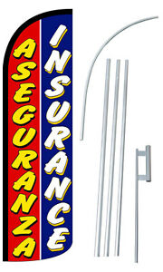 Aseguranza Insurance Flag Kit 3 Wide Windless Swooper Feather Advertising Sign
