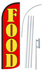 Food Flag Kit 3 Wide Windless Swooper Feather Advertising Sign