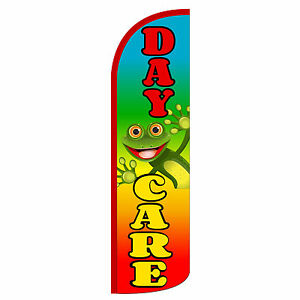 Daycare Frog Windless Swooper Feather Flag Tall Banner Sign 3 Wide A