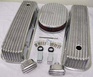 Big Block Chevy Finned Valve Cover Kit W 12 Washable Air Cleaner