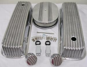Big Block Chevy Finned Valve Cover Kit W 12 Air Cleaner Breather Pcv 454 502