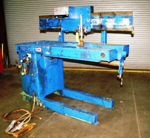 42 Pandjiris Model 36e 3 5 30 Seam Welder W Miller Syncrowave 300 Power Supply