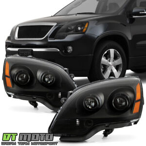 Black 2007 2012 Gmc Acadia Headlights Headlamps Replacement 07 12 Set Left right