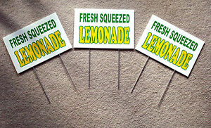 3 Fresh Squeezed Lemonade Coroplast Signs 8 X 12 Concession Stand W stakes