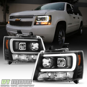 Blk 2007 2014 Chevy Suburban Tahoe Avalanche Optic Drl Led Projector Headlights