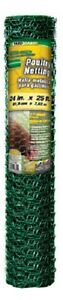 4 308452b 24 X 25 Ft Green 1 Pvc Coated Poultry Netting Chicken Wire Fencing
