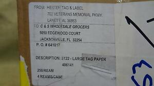 Hester Tag And Label Company Large Tag Paper 4 Reams Each Ream Is 250 1000 Total