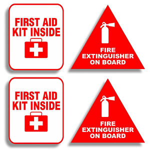 3 Fire Extinguisher First Aid Decals Stickers Pack Label Truck Off Road Safety