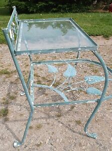 Vintage Wrought Iron Table Stand W Leaves Mid Century Modern Designer Salterini