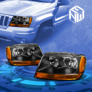 Fit 1999 2004 Jeep Grand Cherokee Wj Black Amber Signal Housing Headlights Lamp