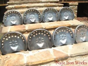 Eight Steel Tractor Seats Metal Farm Or Bar Stool Tops Pan Style Large