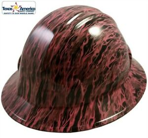 Hydro Dipped Full Brim Hard Hat With Ratchet Suspension Pink Flame So Hot