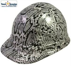New White Snakeskin Print Hydrodipped Cap Hard Hat Ratchet Suspension