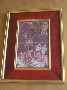 18 C Thai Hindu Guache Manuscript Painting Mythological Angels Demons Ramakien