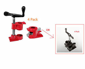 4 Pack 3 4 Wood Gluing Pipe Clamp Set Heavy Duty Pro Woodworking Cast Iron