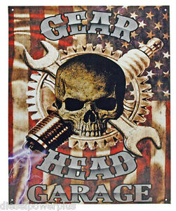 Vintage Replica Tin Metal Sign Gear Head Skull Garage Tool Work Shop Willy 98482