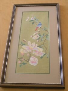 Vintage Framed Silk Np Pp Embroidery Tapestry Bird Cherry Blossoms Wall Hanging