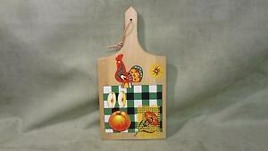 Antique Vintage Primitive Wooden Kitchen Cutting Board With Rooster Cooking Food
