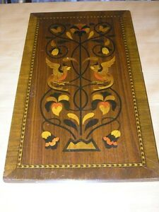Antique European Wood Marquetry Panel Birds Scrolls Flowers Inlaid Tree Of Life