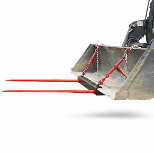 Bucket Dual 39 Hay Bale Spear Attachment Front Loader Tractor Skid Steer Deere