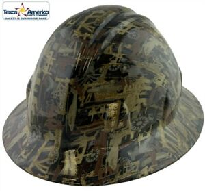 Hydro Dipped Full Brim Hard Hat With Ratchet Suspension Oilfield Camo White