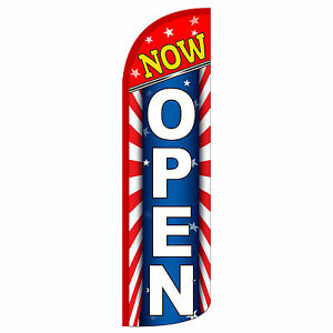 Now Open Stars Stripes Swooper Flag And Pole Set Windless Banner Sign 3 Wide