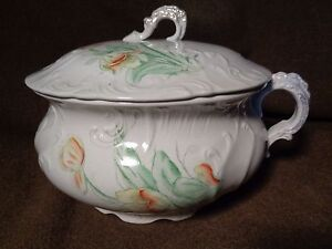 Antique Chamber Pot Lid Top Painted Art Pottery Porcelain Lenoir